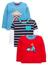 Boys Infants Pck of 3 Monkey & Striped Tops in Blue/Red 3-6 6-9 Months