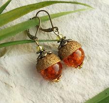 Eicheln Bronze Ohrringe mit Bernstein Perlen, Herbst  Wald