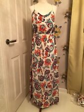 NEW F+F TESCO PAISLEY STYLE FLORAL MAXI DRESS–WHITE, RED, BLUE - UK 10