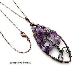 Genuine Amethyst Copper Wire Wrapped Tree of Life Teardrop Chakra Necklace