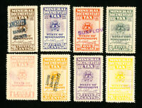 US Stamps VF Mineral Tax Set from Mississippi Set of 8 Used