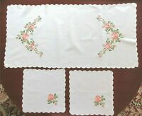 Rose Table Runner And 2 Doilies White With Embroidered Pink Roses Scalloped Edge