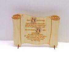 Geburtstagsgeschenk Glückwünsche auf einer Holztafel graviert zum 80. Geburtstag