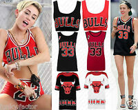 Womens Ladies Bulls Basketball Baggy Long T-Shirt Varsity Crop Tops & Vest Top