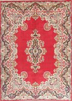 Wool Area Rug Hand-Knotted Floral Oriental Vintage 10 x 14 Carpet Open Field