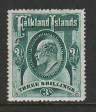 Falkland Islands 1904 ED VII 3/- Deep green SG 49b Mint.