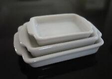 Set of 3 White Baking Pan/Tray Dollhouse Miniatures Supply Decor Mix Size