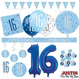 Blue 16th Birthday Party Decorations Supplies Boy Mens Male Balloons Banners etc