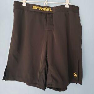 """Sprawl Fight Shorts Martial Arts MMA BJJ Black w Gold Letters Size 34""""W x 10""""L"""