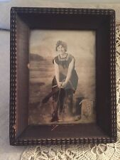 """ANTIQUE/VINTAGE FRAMED PHOTO OF WOMAN-YOUNG GIRL AT REDONDO BEACH 4.5""""X 5.75"""""""