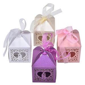 10/50/100 Pcs Love Heart Favor Ribbon Gift Box Candy Boxes Wedding Party PJB