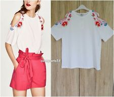 ZARA WHITE CUT-OUT SHOULDERS T-SHIRT WITH FLORAL EMBROIDERY DETAIL  SIZE S