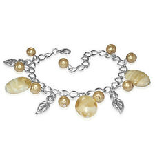 Golden Pearl Glass Bead Leaf Charm Bracelet nickel free jewellery UK
