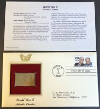 22kt Gold Stamp World War II, ATLANTIC CHARTER 1st Day Cover Proof Replica 1991