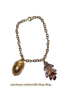 Vintage Gold, Bronze & Copper OAK LEAF & ACORN Bracelet/ Anklet. Pagan/Wiccan.