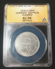 Nice 1930-A Germany-Weimar Silver 3 Reichsmark - ANACS AU-58 Details Cleaned