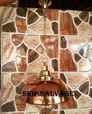 NAUTICAL SHIP MARINE NEW SOLID BRASS HANGING LIGHT WITH COPPER SHADE ONE PCS