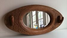 Antique Art Nouveau Hand Carved Wood Oval Wall Hall Mirror Hat Gun Rack Hook