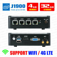 Fanless Mini PC Intel J1900 4 LAN Port 4G RAM/32G SSD Fanless pfSense Firewall