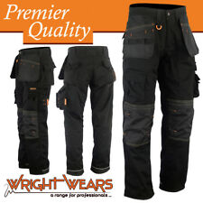 Men Work Cargo Trouser Holster Black Heavy Duty Multi Pockets W:32 - L:33
