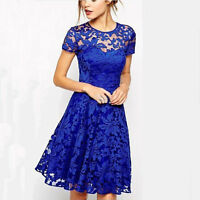 Plus Size Womens Lace Mini Dress Ladies Evening Party Cocktail Bridesmaids UK