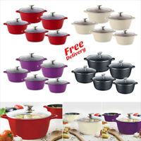 5pc Nonstick Die Cast Aluminium Casserole Stockpot Induction Cooking Pan Set Nea