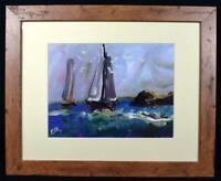 Original Modern Art Contemporary Painting Yachts at Sea Signed Framed