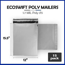15 12x155 Ecoswift Poly Mailers Plastic Envelopes Shipping Mailing Bags 17mil