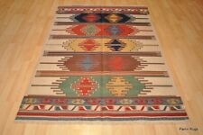 SOUTHWESTERN Wool kilim area rug 4' x 6' handmade red and blue CAUCASIAN STYLE