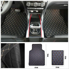 4 x Universal Durable PU Leather Car Interior Floor Mat Cushion Black&Beige Line