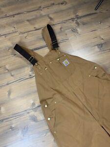 MINT! Carhartt American Vintage Orange Beige Working Jumpsuit Overall Size 40x30