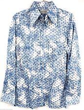 Vtg 70S A. G. Leslie Deauville Hotel Miami Beach Disco Mod Hippie Shirt M Blues