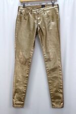 metallic gold AG absolute legging jeans 5 pocket skinny adriano goldschmied 27 R