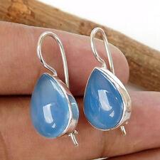 925 Sterling Silver BLUE CHALCEDONY Pear Drop Gemstone Women Gift Earring-EB1220