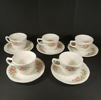 Vintage Homer Laughlin Set Of 5 Tea Cup And Saucers Pink Blue Yellow Floral