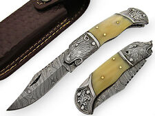 Camel Bone Handle Hand Made Lock Back Damascus Steel Pocket Knife with Sheath