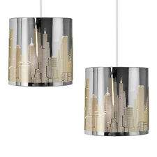 Pair of Silver Chrome New York Ceiling Light Fittings Shades Lights Lampshades