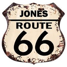 BPHR0005 JONES ROUTE 66 Shield Rustic Chic Sign  MAN CAVE Funny Decor Gift