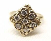 Vtg 14K Gold Diamond Ring Sz 5.75 .42 Carat Honeycomb Art Deco Signed Encore