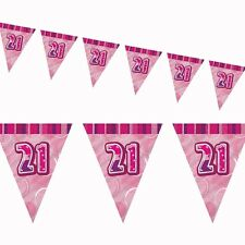 12ft Pink Sparkle Happy 21st Birthday Pennant Flag Banner Party Decoration