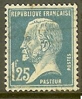 "FRANCE TIMBRE STAMP N°180 ""TYPE PASTEUR, 1 F 25 BLEU"" OBLITERE TB"