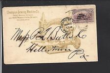 PHILADELPHIA, PENNSYLVANIA COVER,1894, #231, ILLUST. CHAMPION SEWING MACHINE CO.