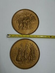 """3D Stamped Vintage Tin Wall Art English Cottage Brass Plaques 8"""" Antique Decor"""
