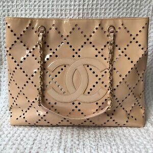 CHANEL Vinyl Tote Bag Nude CC Logo Perforated Beach Large Interwoven Chain