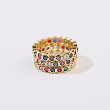 Men Women Luxury Colours Gem Lover Fashion Promise Wedding Rainbow Rings Jewelry