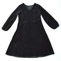 6603@ GUDRUN SJODEN Luxury Black Velvet Oversized Comfy Dress Sz L UK 12 US 10