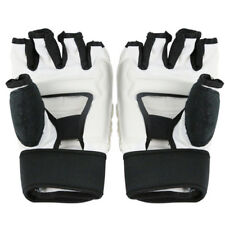 White PU Leather Boxing Gloves Grappling Training Kick Boxing Professional Mitts