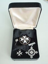 GREAT BRITAIN ORDER OF ST. JOHN FOR LADIES + MINIATURES. CASED. SILVER RARE. VF+