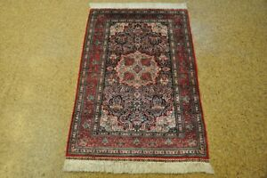 3x5 Silk New Hand-Knotted Area Rugs Midnight Blue - Red Carpet
