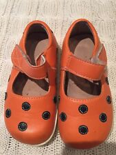 Puddle Jumper Shoes Girl Size 7 Orange Polka Dot Mary Janes Halloween